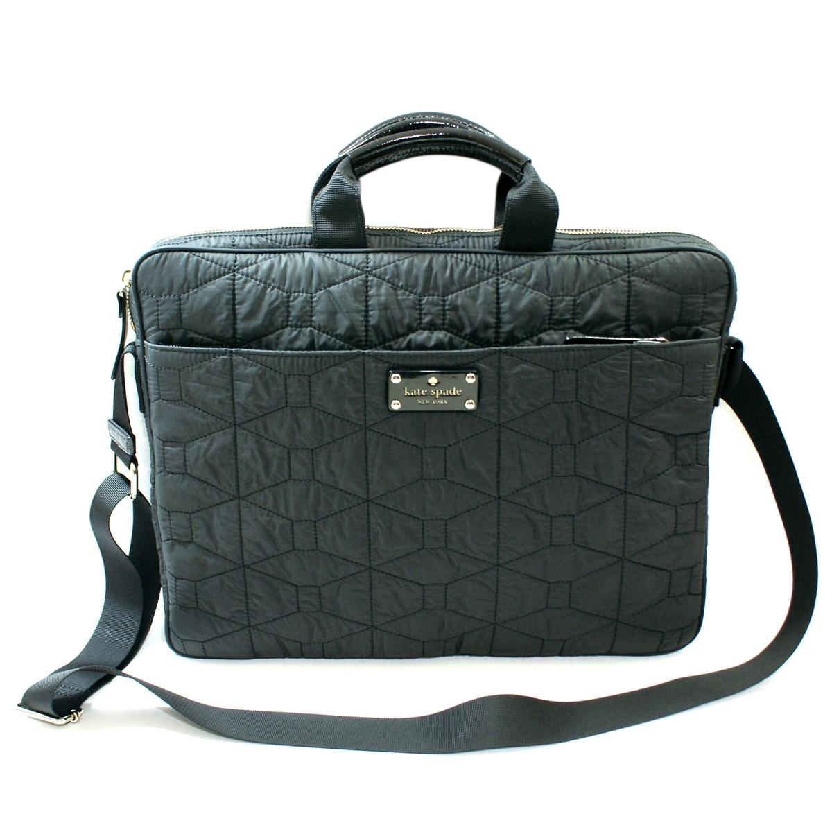 Kate Spade Chad 15 Signature Spade Quilted Black Messenger
