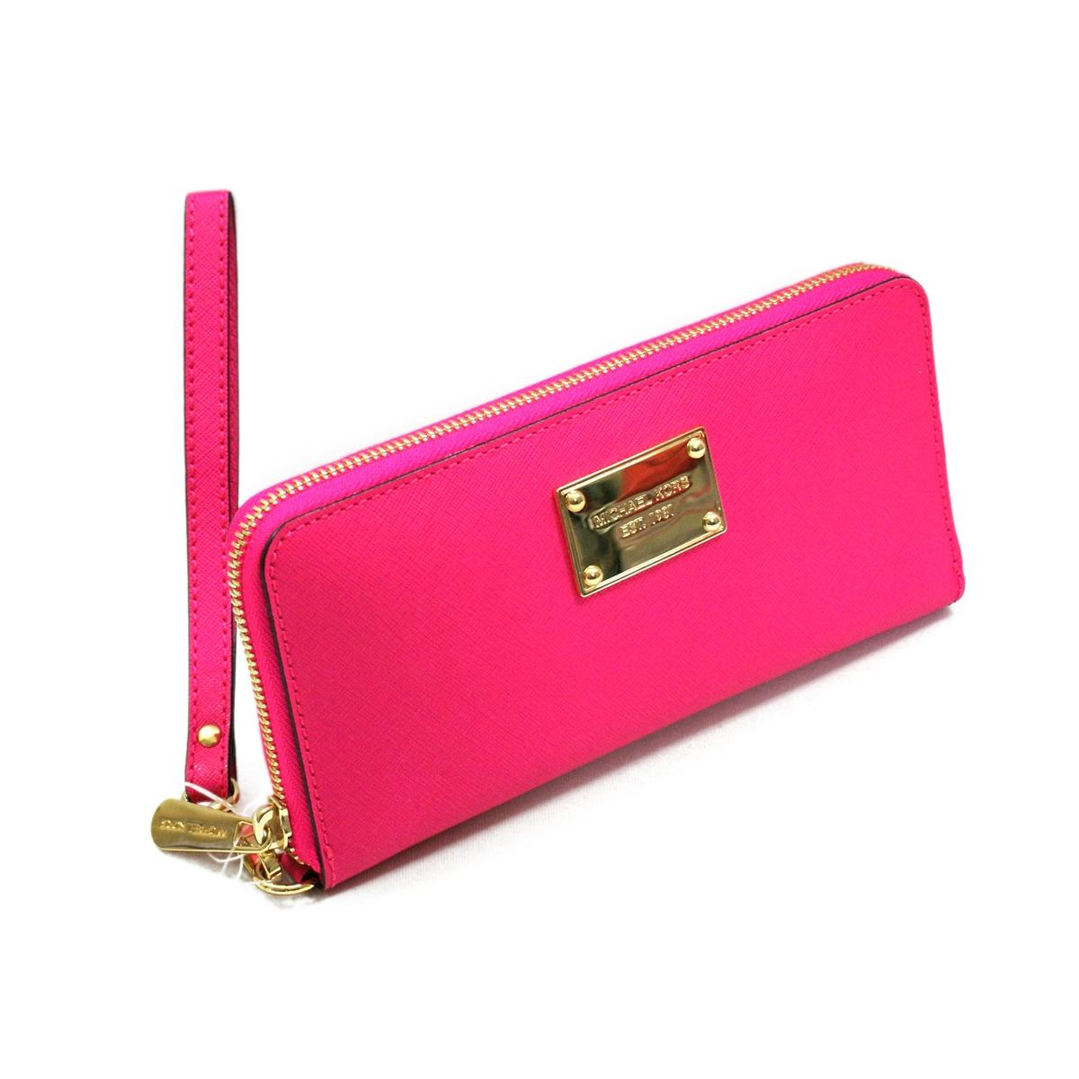 Michael Kors Saffiano Neon Pink Genuine Leather Iphone