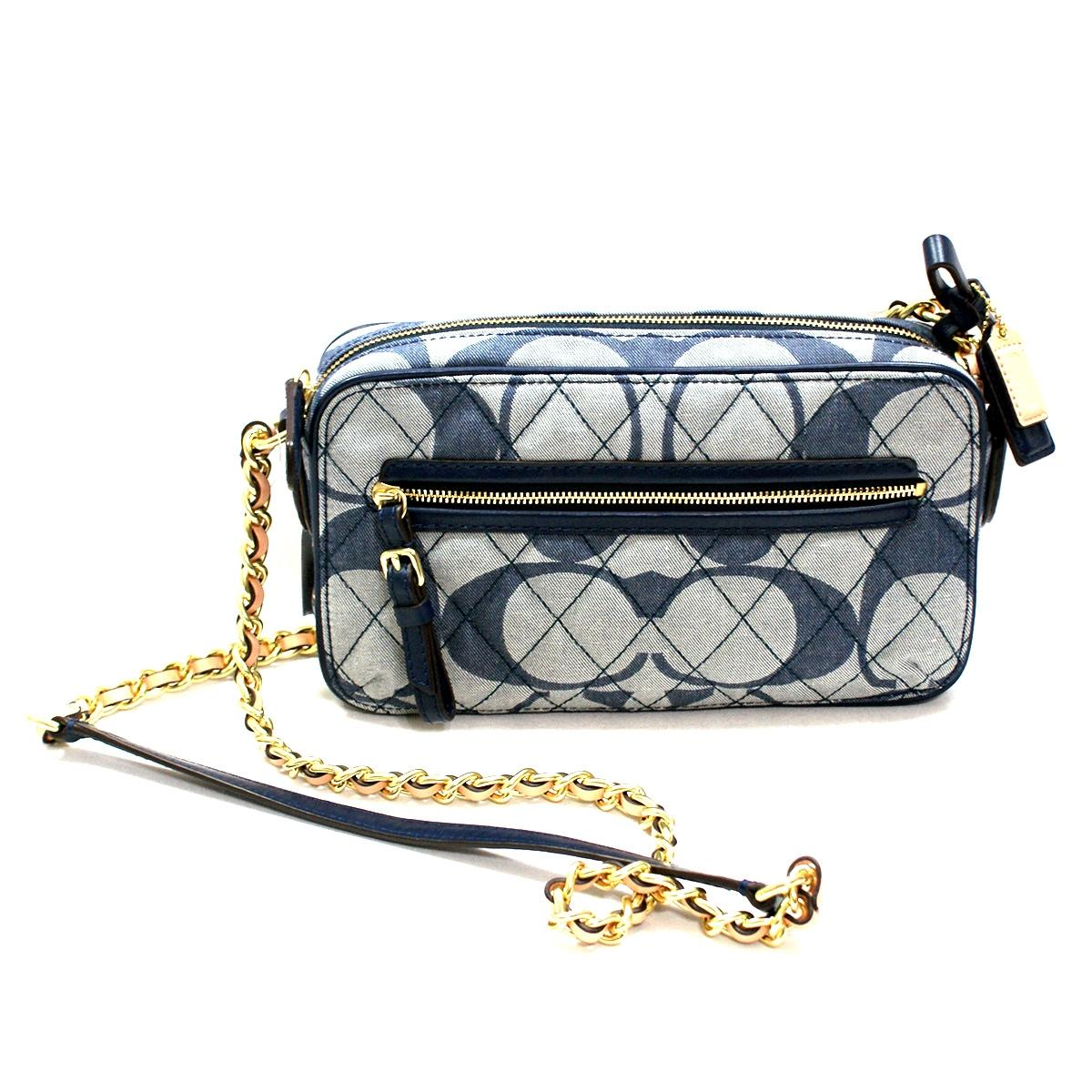 Coach Poppy Quilted Signature Denim Flight Bag Swing 25044 Found