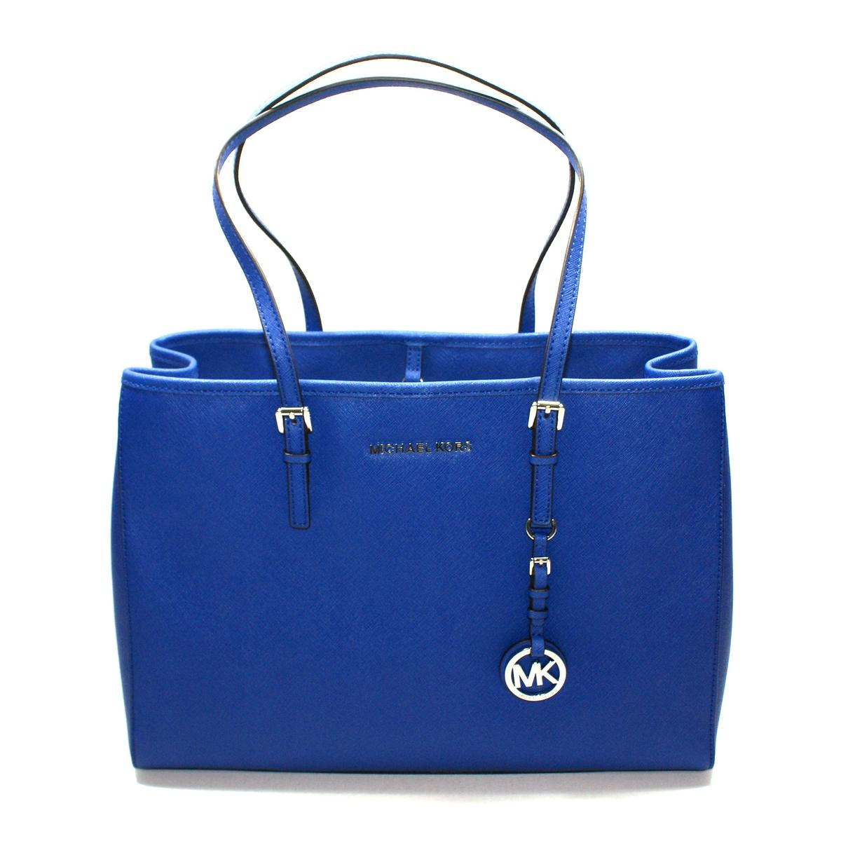 66c2c2a7a1c3e4 Home · Michael Kors · Saffiano Jet Set Travel East West Tote Sapphire.  CLICK THUMBNAIL TO ZOOM. Found ...