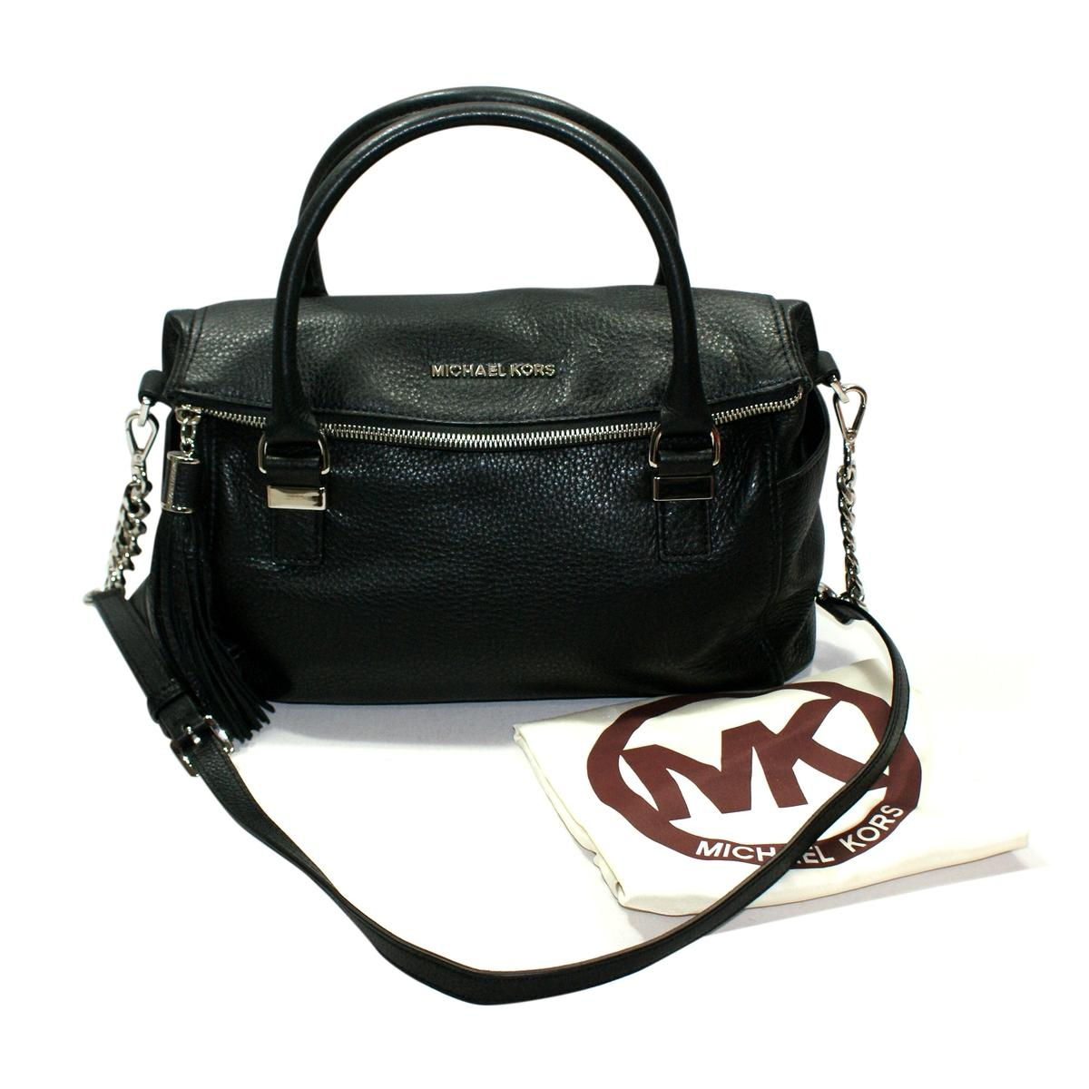 Home Michael Kors Weston Genuine Leather Medium Satchel Crossbody Bag Black Click Thumbnail To Zoom Found