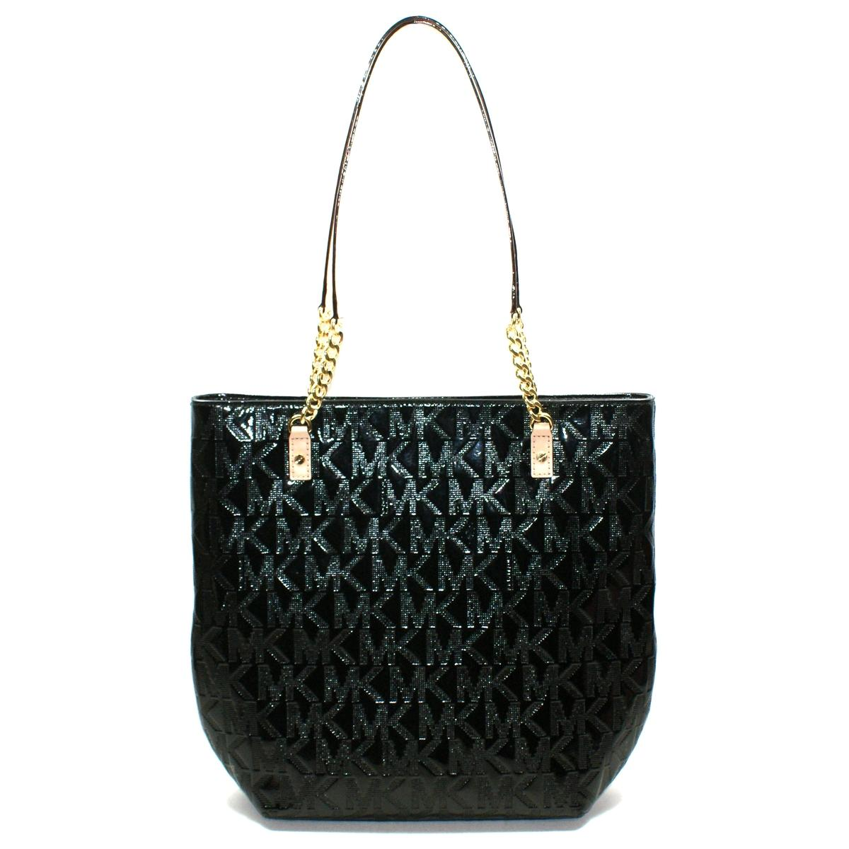 7e2896070c7cc6 Home · Michael Kors · Jet Set Chain MK Signature Patent Leather Tote Black.  CLICK THUMBNAIL TO ZOOM. Found In: Handbags