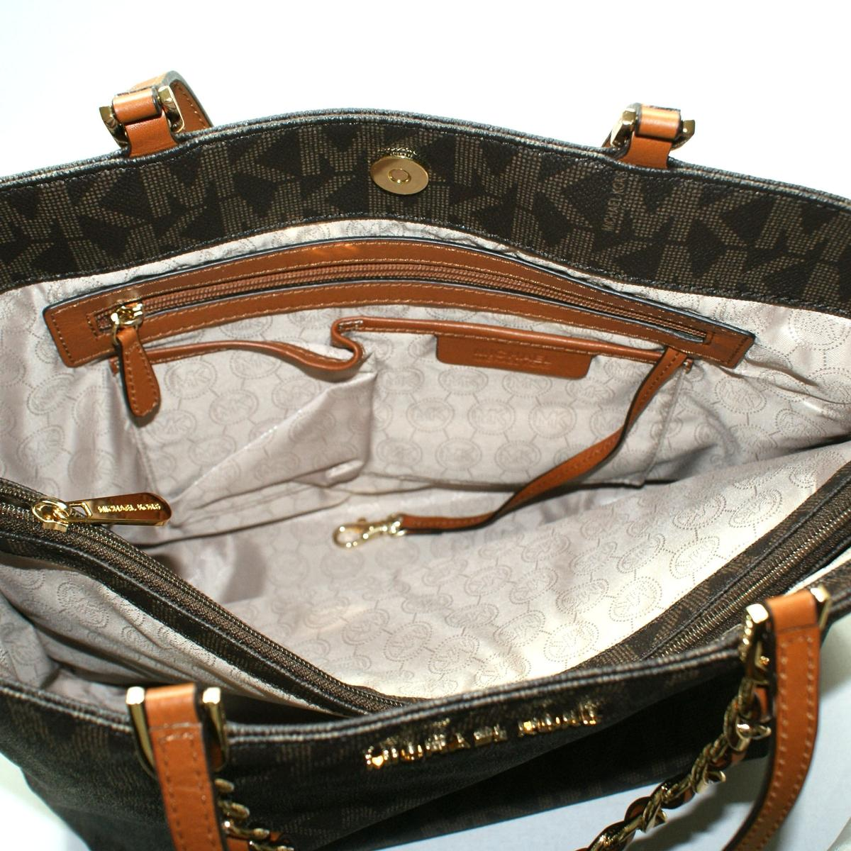 4080caa505c779 Home · Michael Kors · Harper Large MK Signature PVC East/ West Tote Brown.  CLICK THUMBNAIL TO ZOOM. Found ...