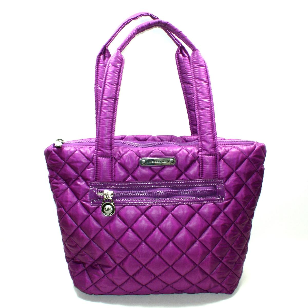 f47dc76438457a Home · Michael Kors · Sadie Quilted Navy Pomegranate Nylon Tote. CLICK  THUMBNAIL TO ZOOM. Found ...