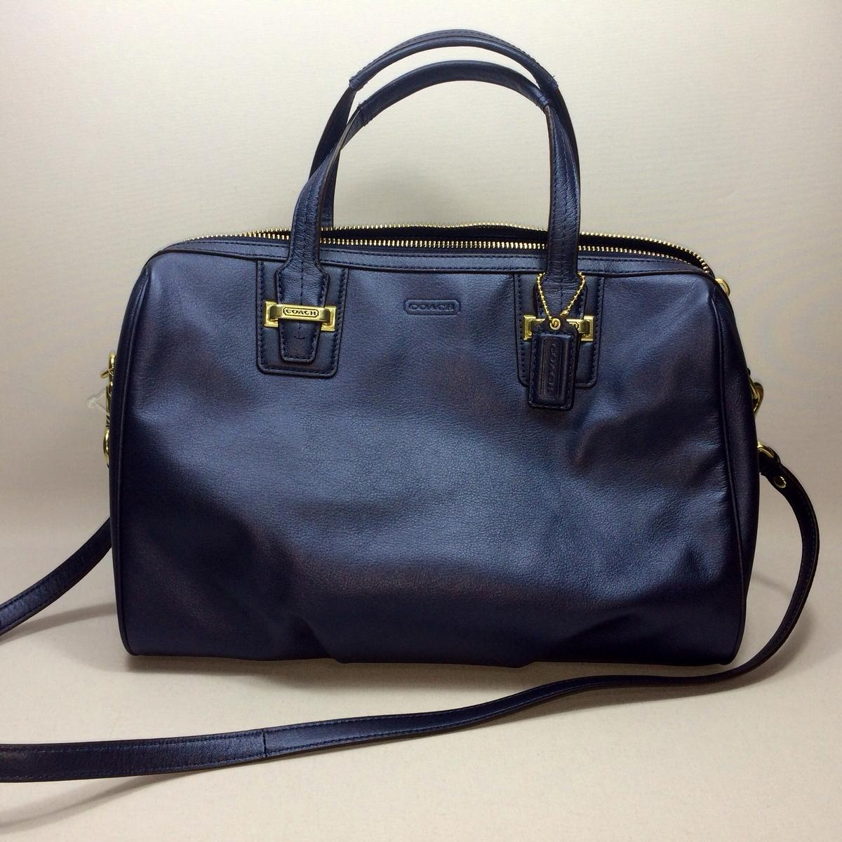 Home Coach Taylor Leather Satchel Crossbody Bag Midnight Blue