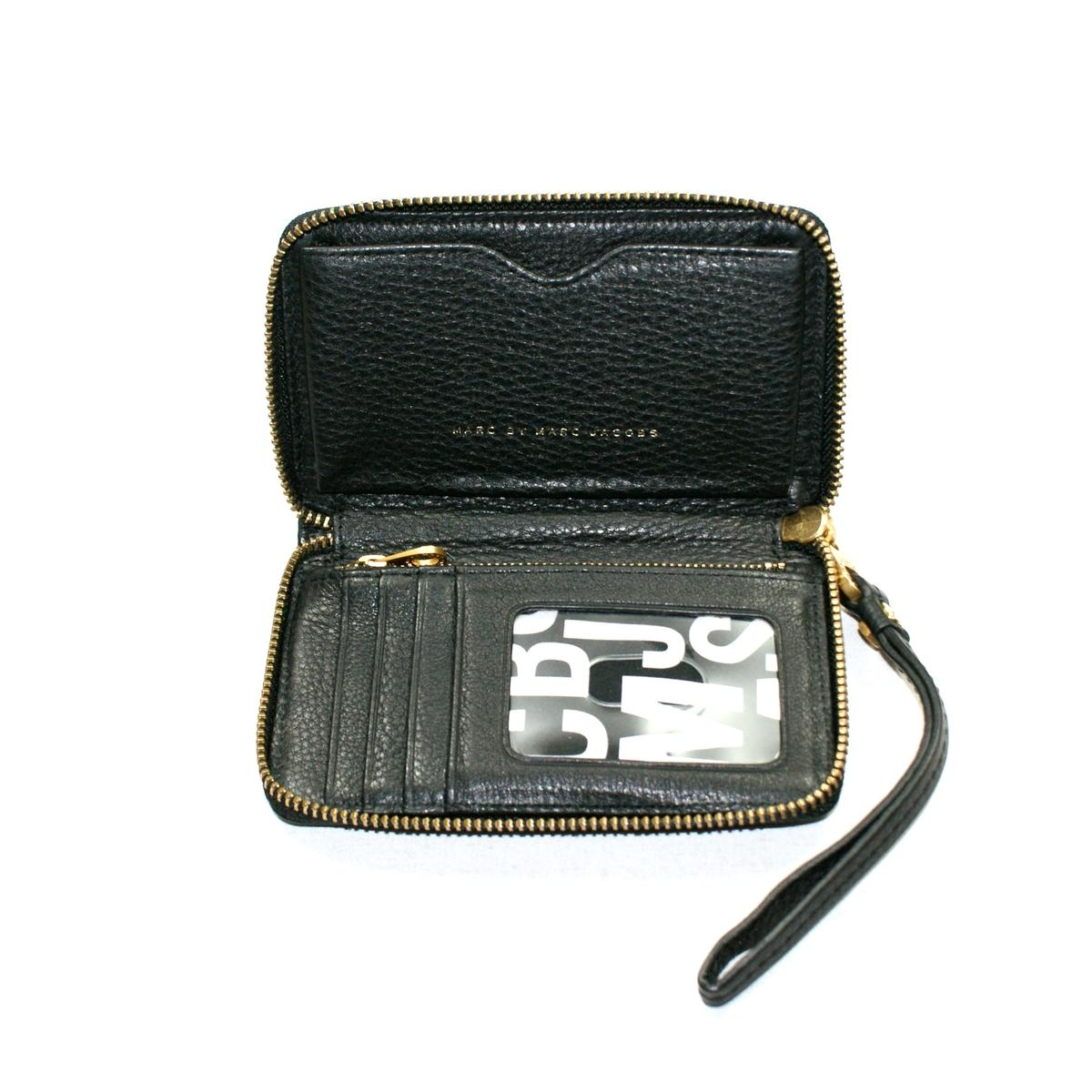 Marc By Marc Jacobs Black Genuine Leather Wristlet/ Wallet/ Iphone ...