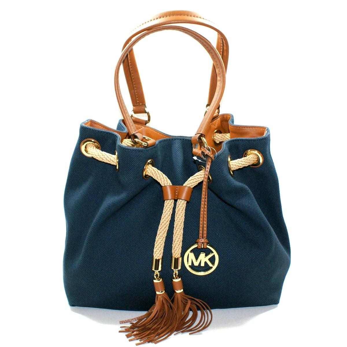 e59579b7b9a3 Home · Michael Kors · Marina Canvas Gathered Tote Navy. CLICK THUMBNAIL TO  ZOOM. Found ...