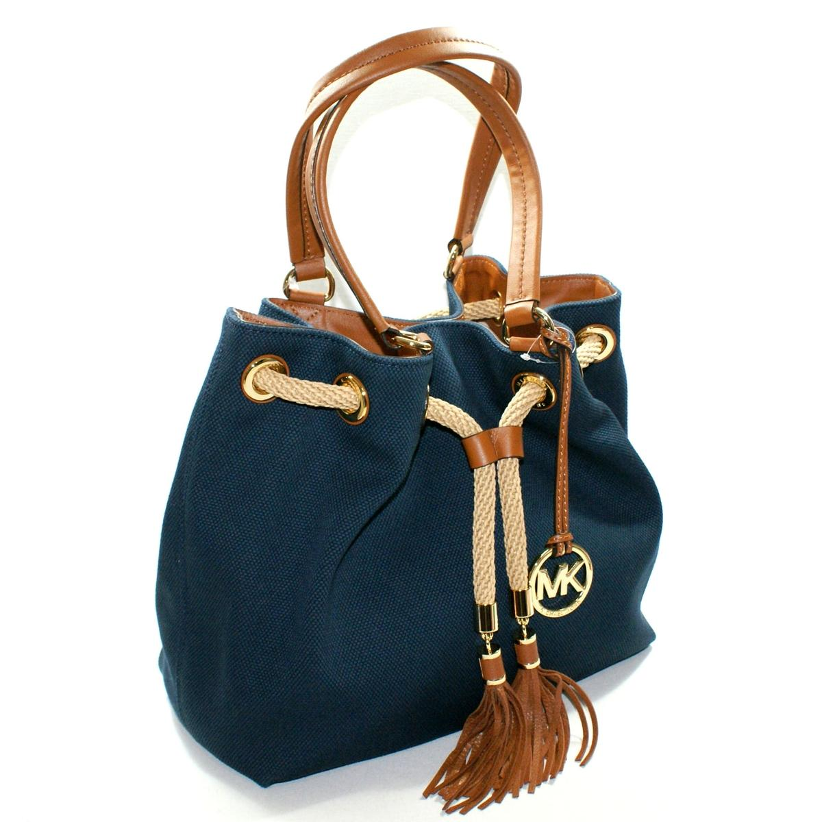 df2bc5984740 Home · Michael Kors · Marina Canvas Gathered Tote Navy. CLICK THUMBNAIL TO  ZOOM. Found ...