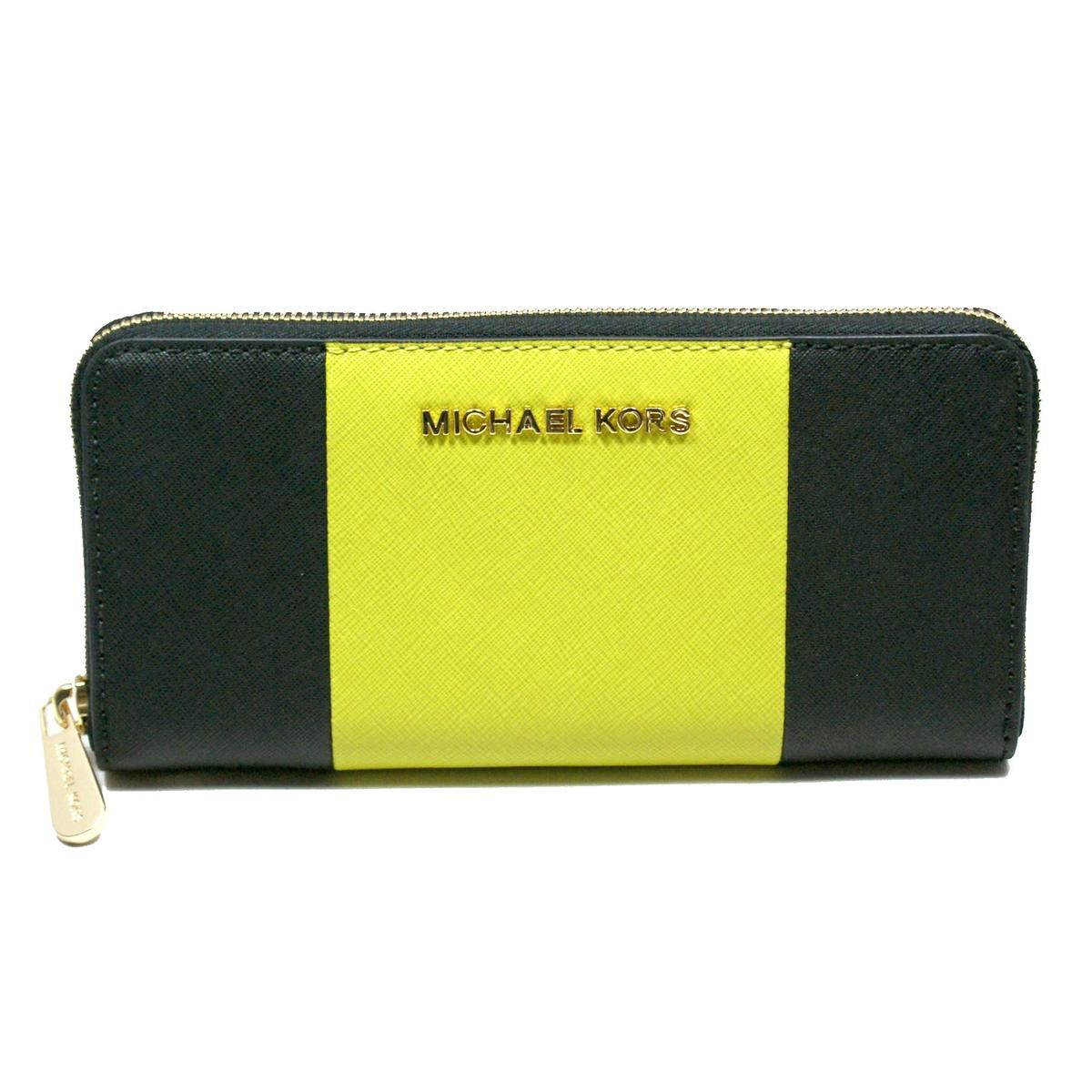 ec727e889b76 Home · Michael Kors · Jet Set Travel Center Stripe Continental Leather Zip  Around Wallet/ Clutch Black/ Apple. CLICK THUMBNAIL TO ZOOM. Found ...