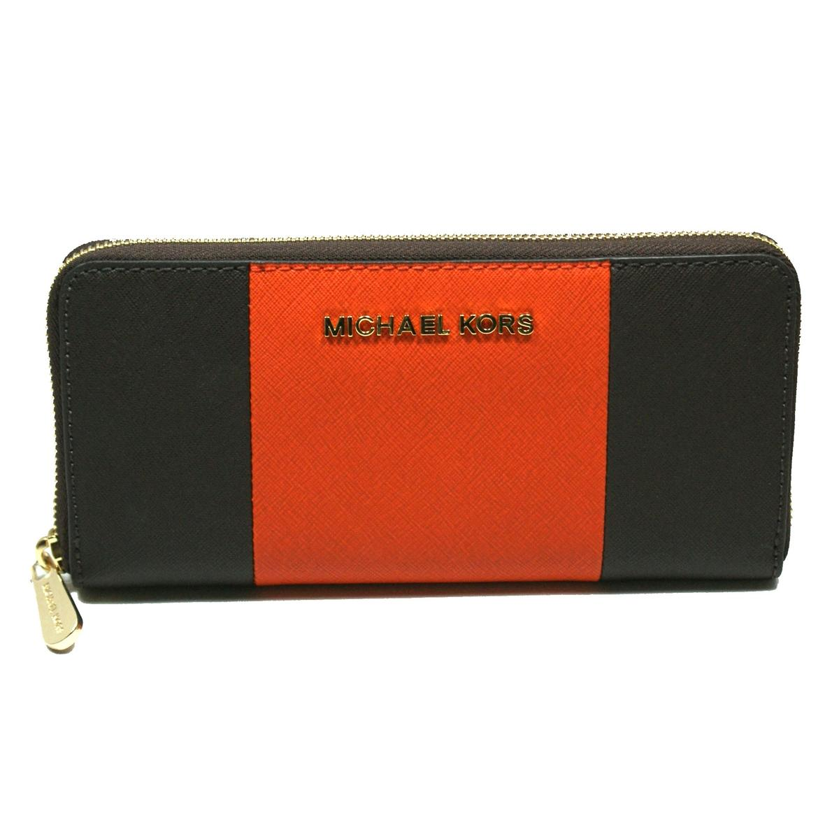 dd27ea79ca82 Home · Michael Kors · Jet Set Travel Center Stripe Continental Leather Zip  Around Wallet/ Clutch Coffee/ Orange. CLICK THUMBNAIL TO ZOOM. Found ...