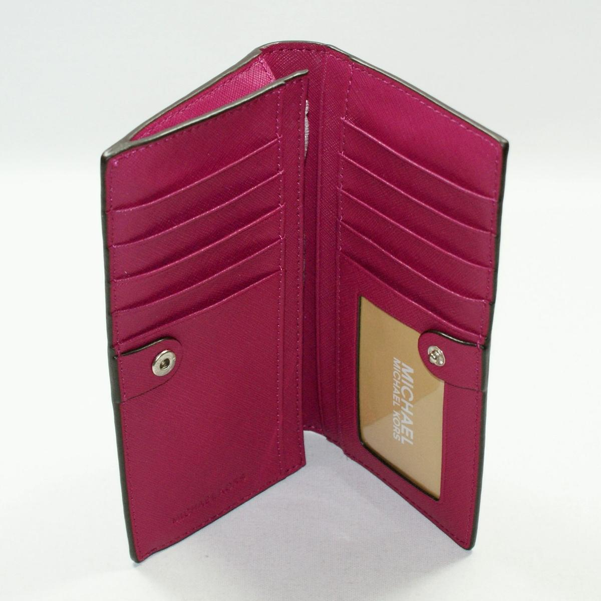 4e0d6bd38124 Home · Michael Kors · Jet Set Travel Leather Slim Wallet/ Clutch Deep Pink.  CLICK THUMBNAIL TO ZOOM. Found ...