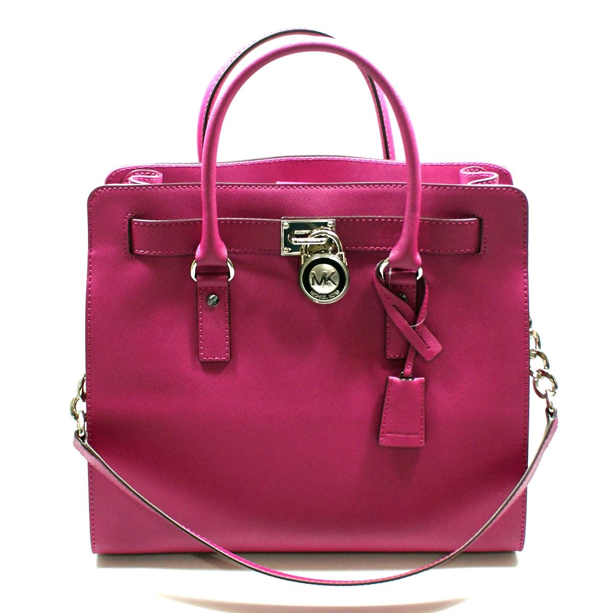 Home · Michael Kors · Hamilton Large Genuine Leather Tote Deep Pink. CLICK  THUMBNAIL TO ZOOM. Found ... 775f0c2d39ab5