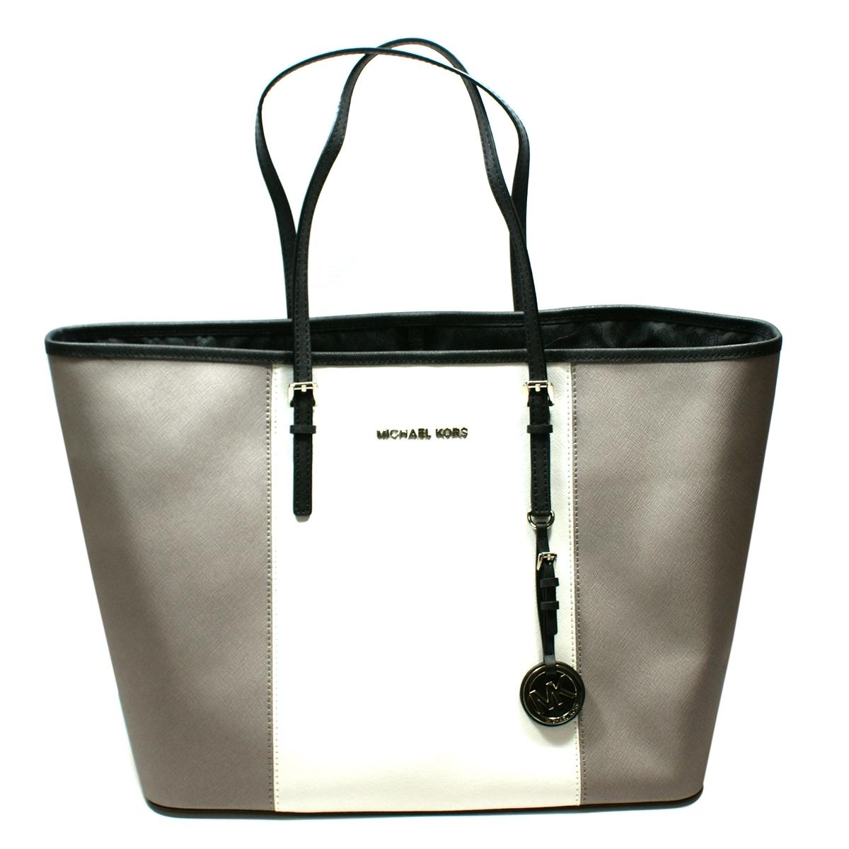 f8fd8fd171bce4 Home · Michael Kors · Jet Set Medium Travel Center Stripe Genuine Leather  Tote Grey/ White. CLICK THUMBNAIL TO ZOOM. Found ...