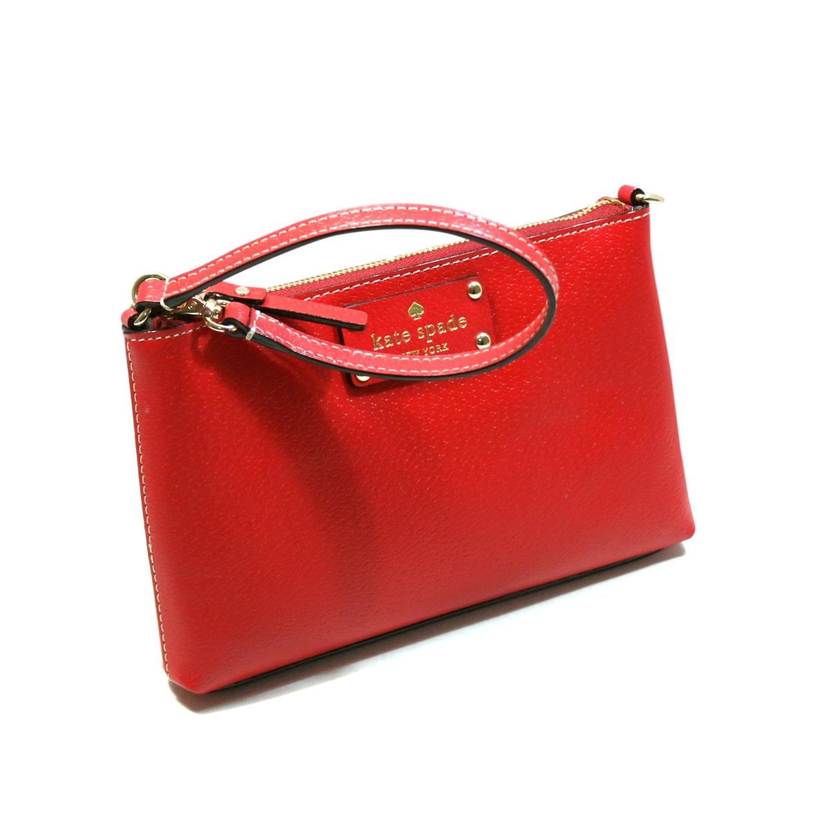 Kate Spade Linet Wellesley Leather Wristlet Pillbox Red