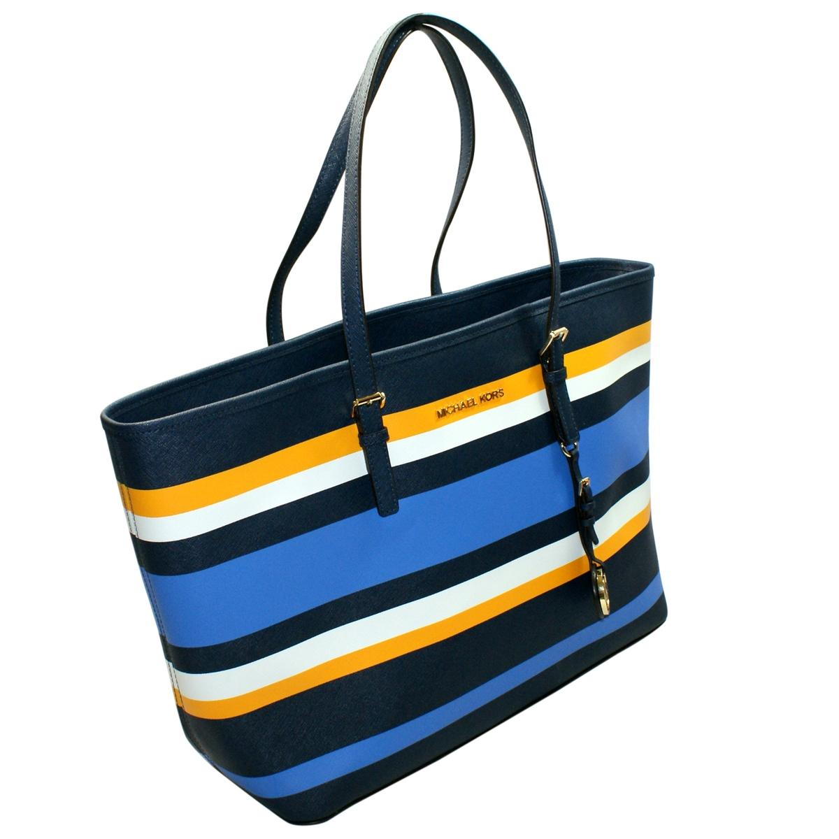 Michael Kors Navy Multi Leather Medium Travel Stripe