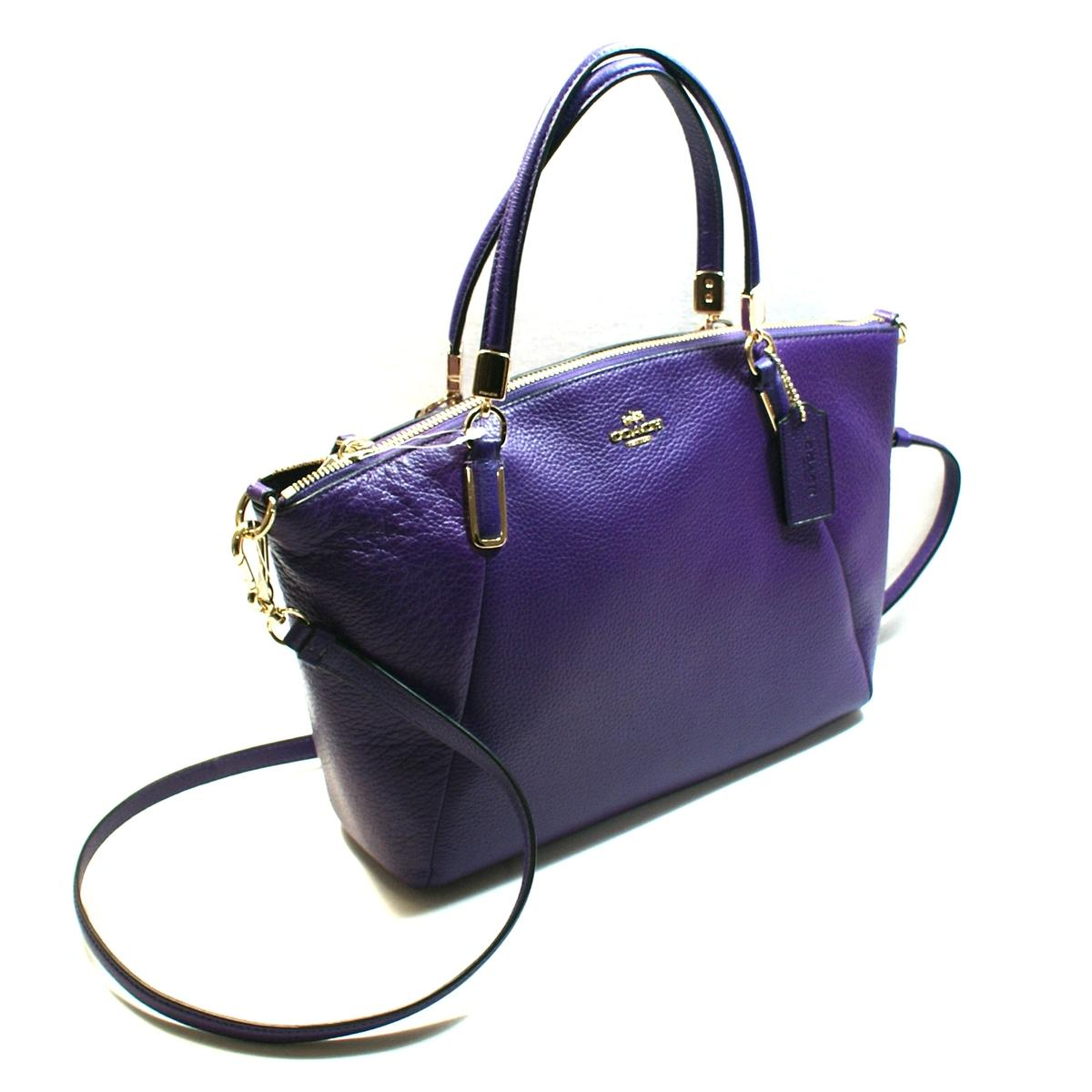 Coach Pebbled Leather Small Kelsey Violet Handbag