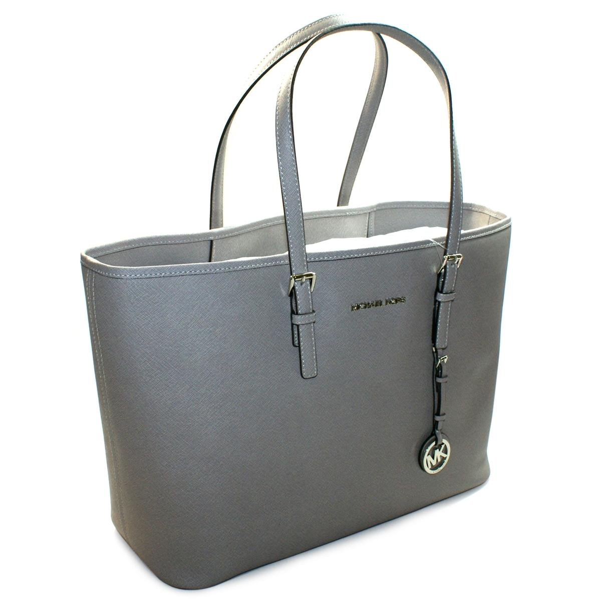 5d7c02ff2a2d05 Home · Michael Kors · Jet Set Medium Travel Genuine Saffiano Leather Tote  Pearl Grey. CLICK THUMBNAIL TO ZOOM. Found ...