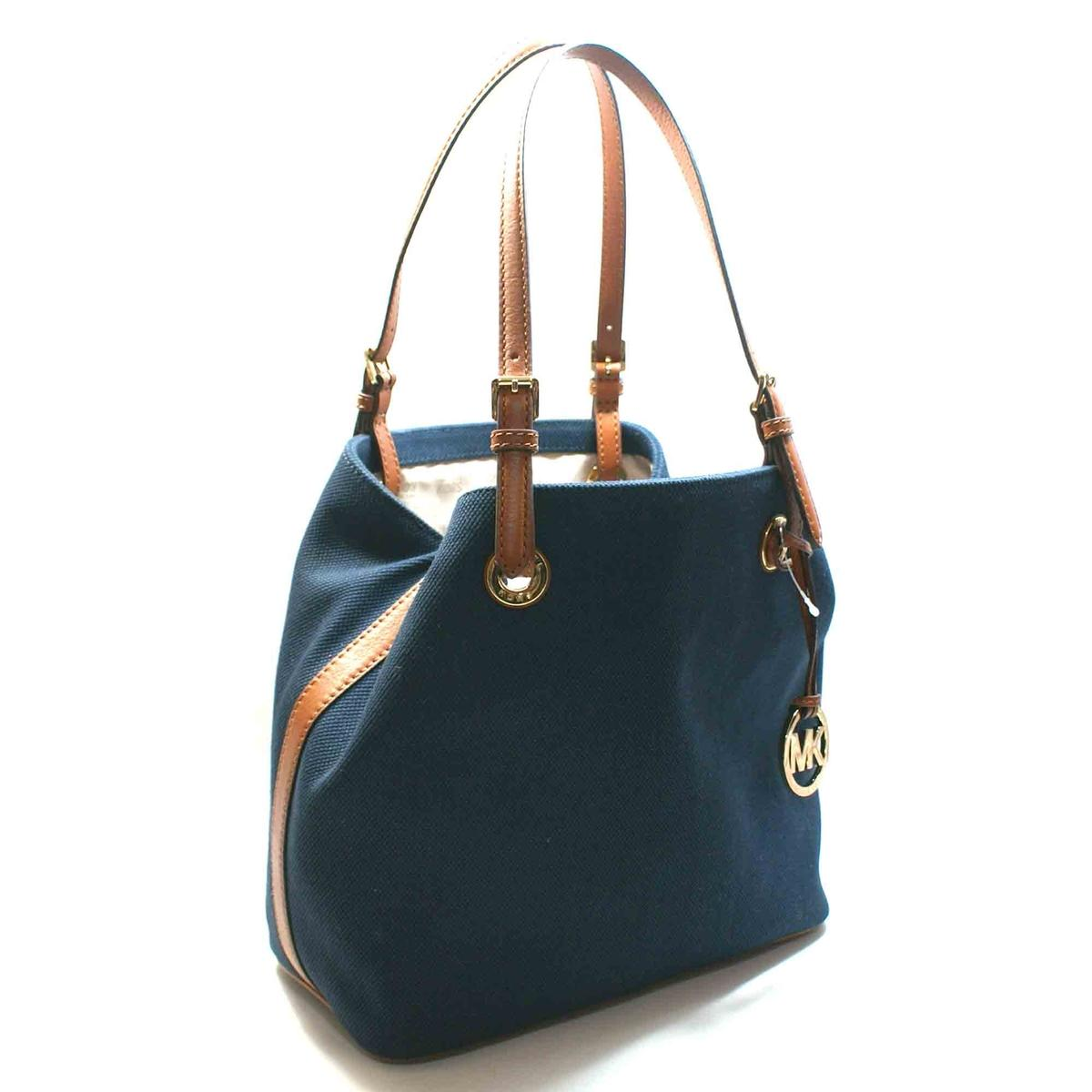 d4758e60a5 Home · Michael Kors · Jet Set Canvas Grab Tote Bag Navy Blue. CLICK  THUMBNAIL TO ZOOM. Found ...