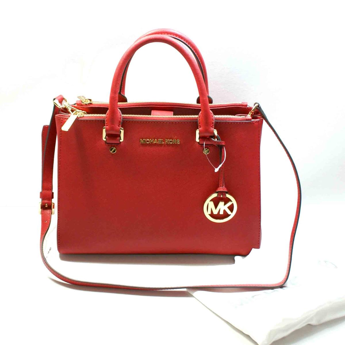 Michael Kors Sutton Medium Satchel Leather Bag Shoulder