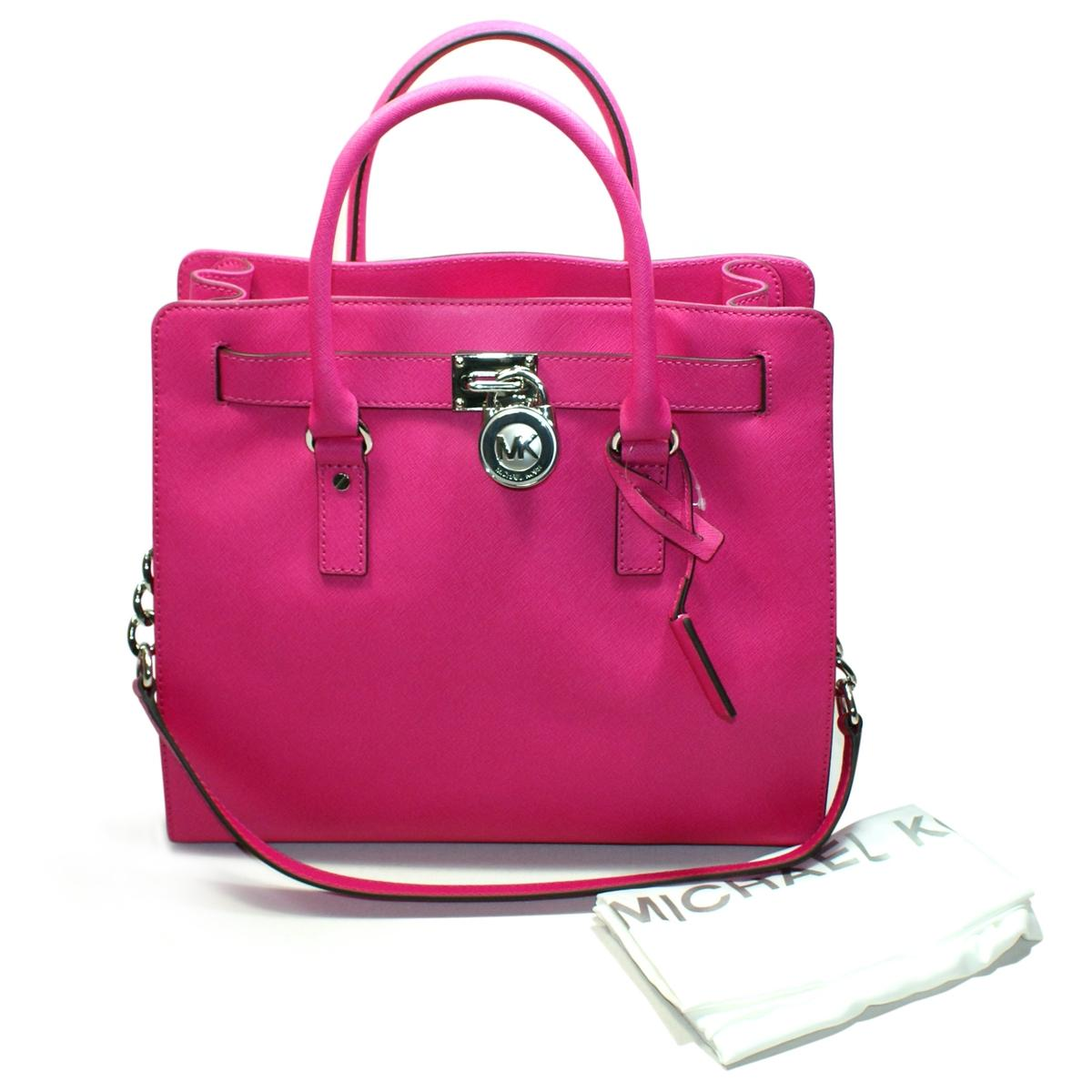 Home Michael Kors Hamilton Large Genuine Leather Tote Shoulder Bag Raspberry Click Thumbnail To Zoom Found