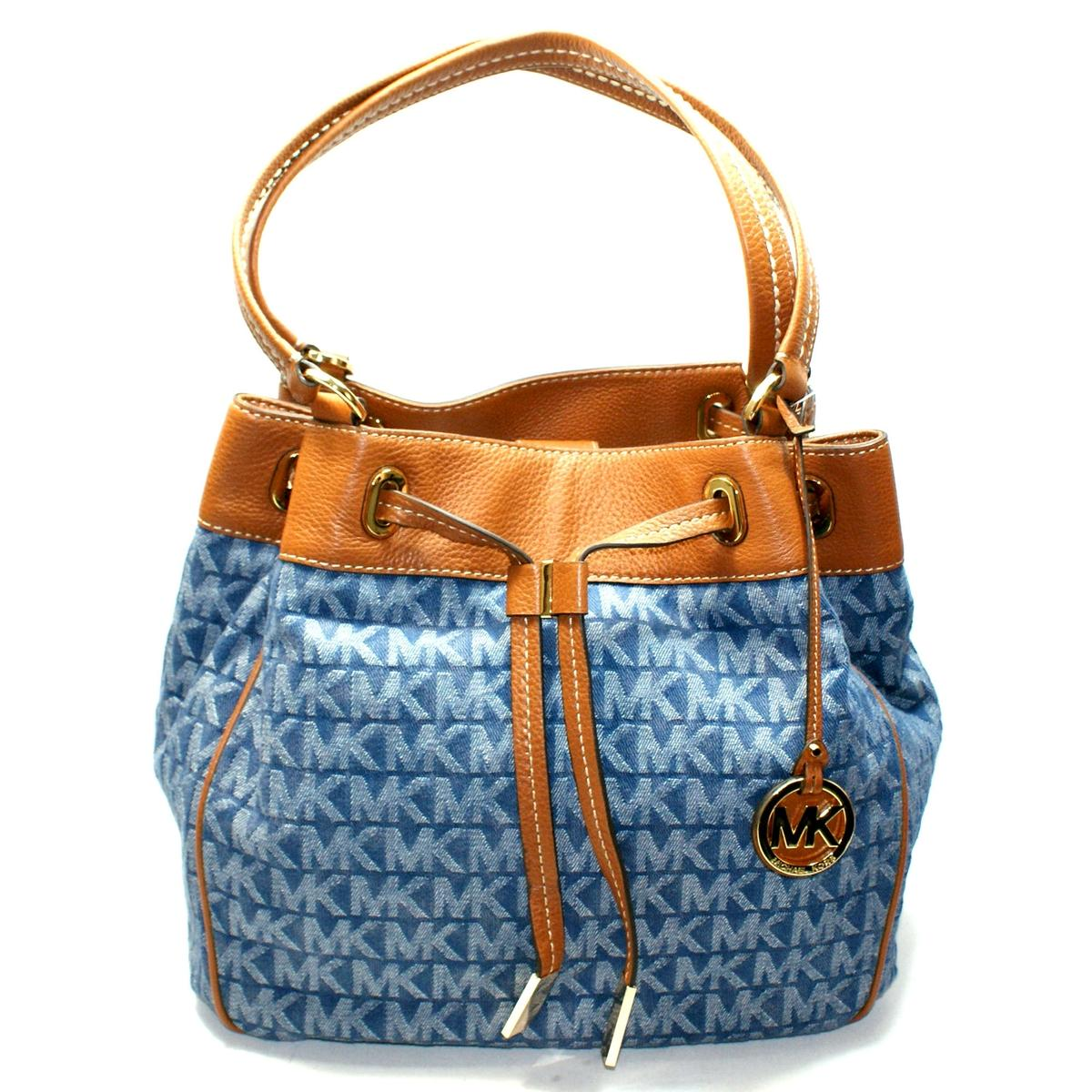 Michael Kors Marina Large Drawstring Denim Tote Bag